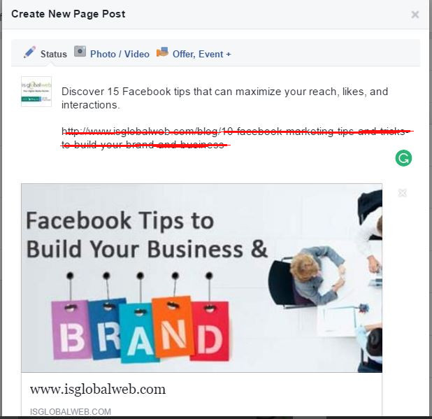 Facebook Marketing Tips-  Remove links from the post